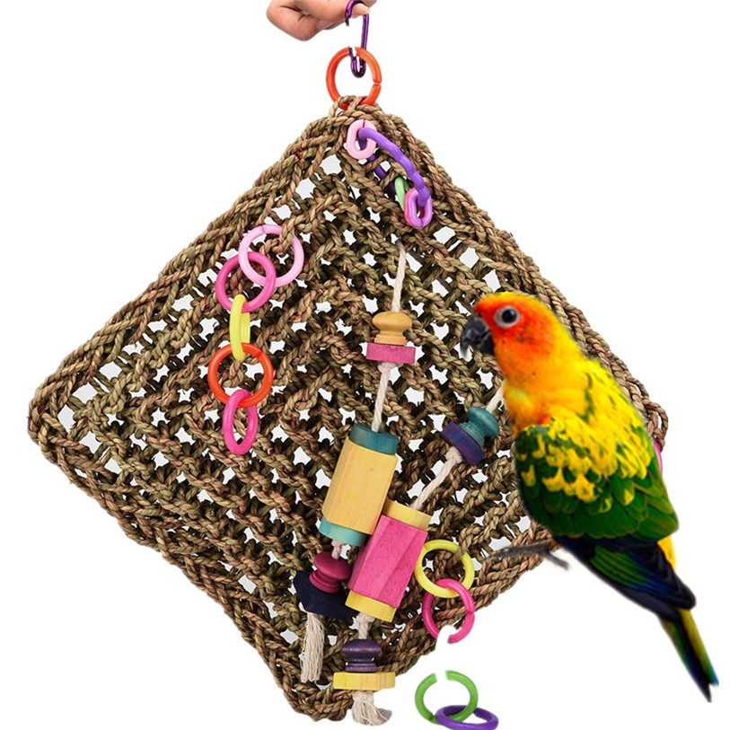 New Parrot Birds Climbing Net Jungle Rope Animals Toy Swing Ladder Chew Robe Hooks Bathroom Fixtures