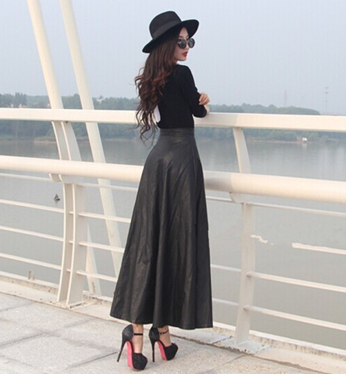 Fall 6XL 7XL Plus Size Woman Faux Leather High Waist Pleated Skirt Long Warm Skirts Winter Long Maxi Skirts For women
