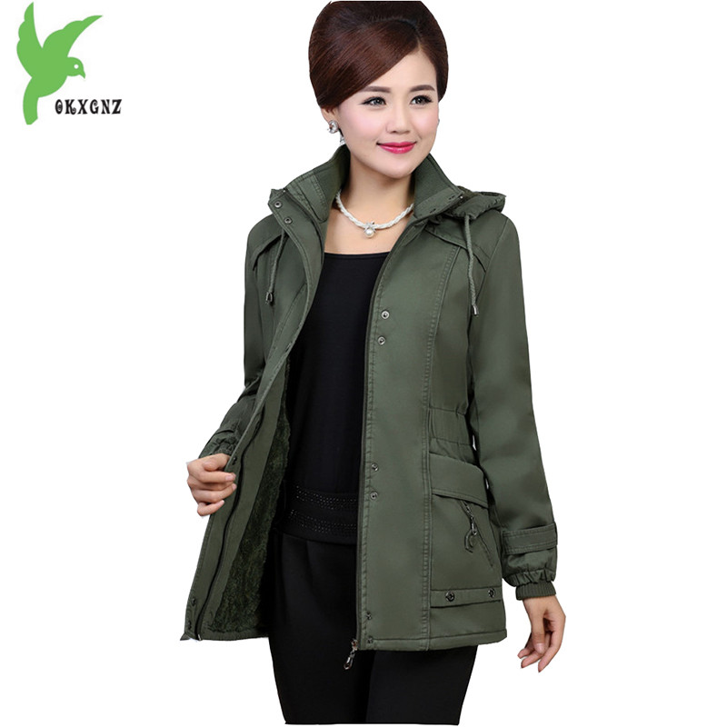 New Winter Middle aged Women Cotton Jacket Flocking Coat Fashion Hooded Pure Cotton Casual Warm Parkas Plus Size 5XL OKXGNZ A988 winter women denim jacket flocking coats new fashion hooded cotton parkas plus size jackets female warm casual outerwear l384
