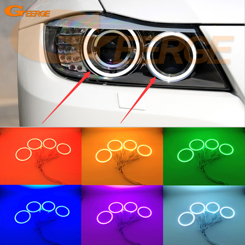 For BMW 3 Series E90 E91 LCI 2008-2012 Xenon Headlight Excellent Multi-Color RGB LED Angel Eyes kit halo rings 4x xenon rgb remote multi color led angel eyes kit for bmw e90 2006 2008 e60