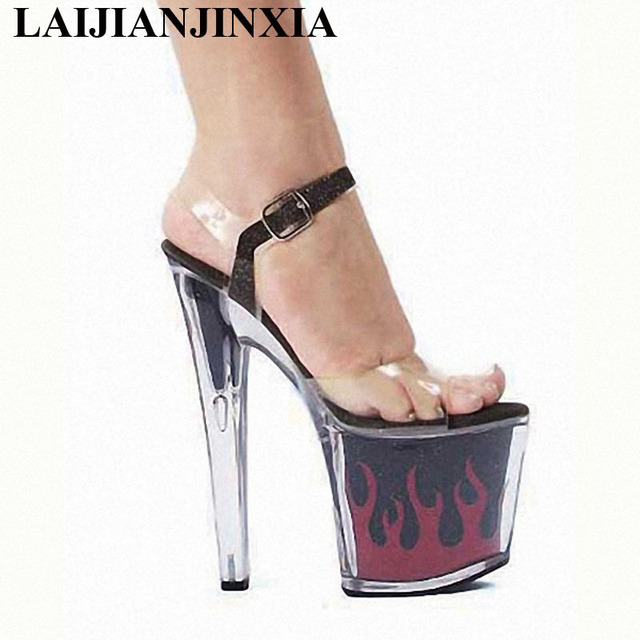 dc4a89bc6ce US $48.75 25% OFF|LAIJIANJINXIA Hot 8 Inch Sexy Clear Gorgeous High Heels  Flame Platform Crystal Shoes 20 CM Women 2018 Exotic Dancer High Sandals-in  ...