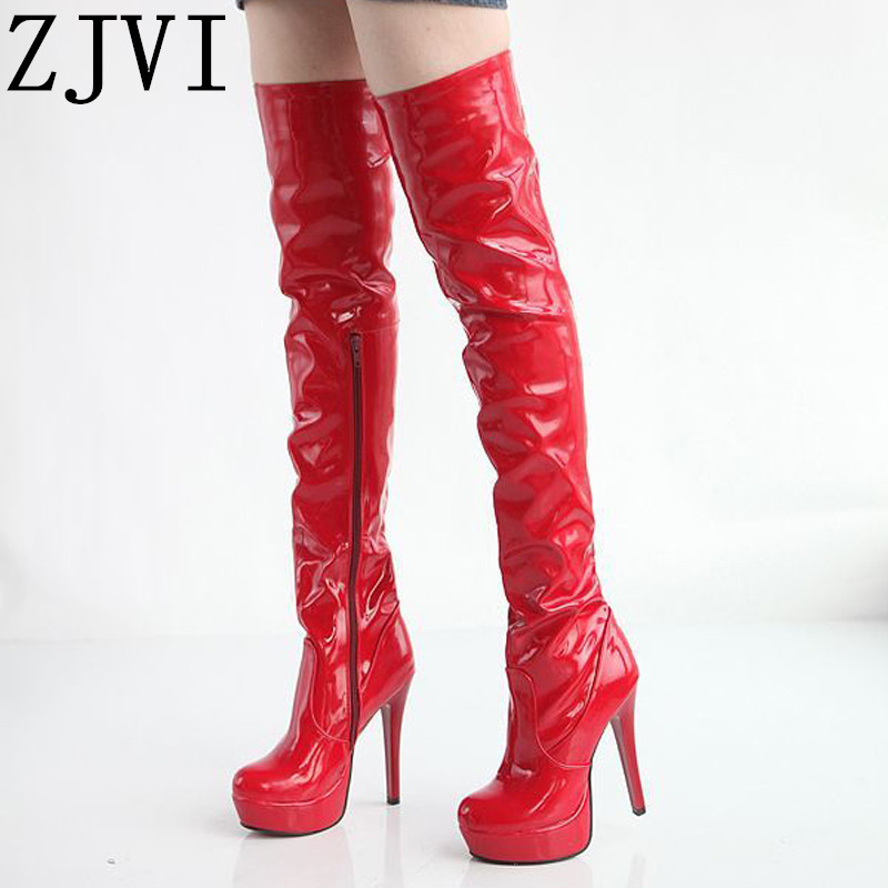 ZJVI women thin high heels over the knee boots woman patent platform winter autumn ladies thigh girls shoes 2019