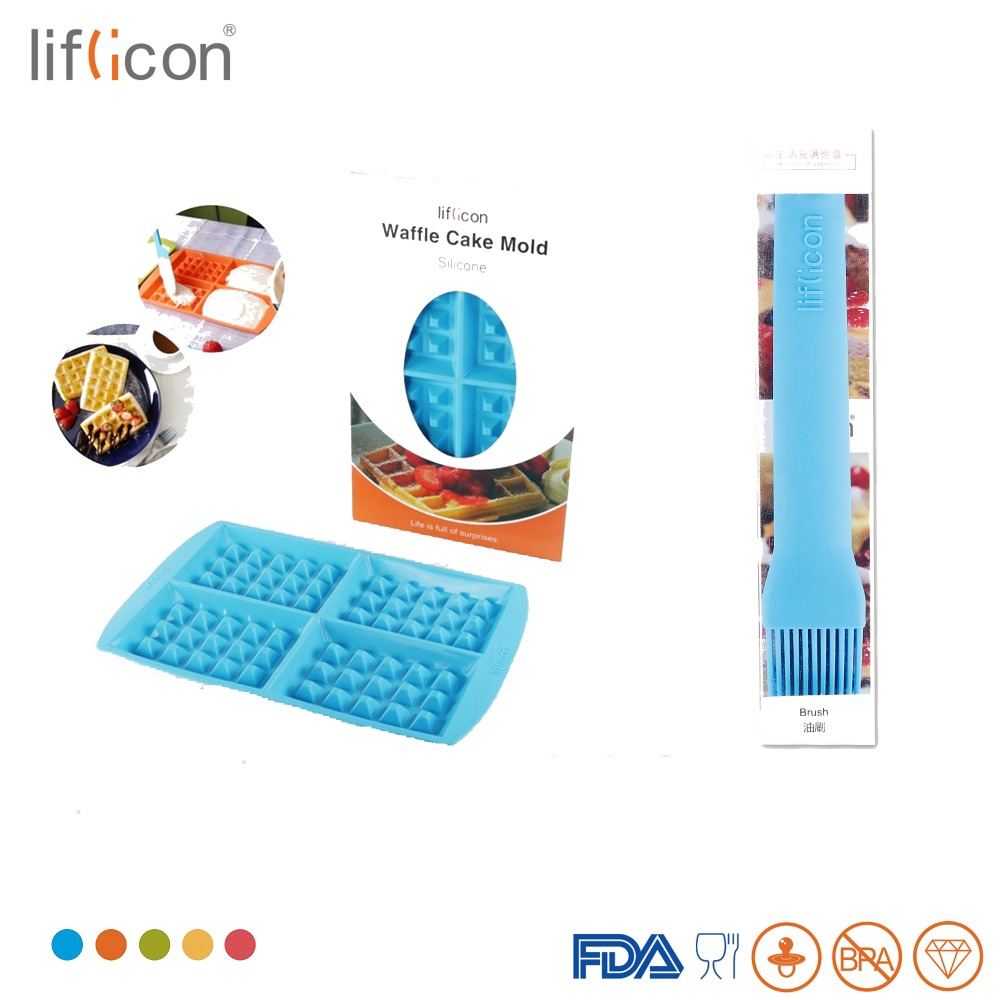 Liflicon Silicone Waffle Mold 4 Cavities Cakes and Baking Brush Set Non-stick Heat Resistant Baing Kitchen Tools