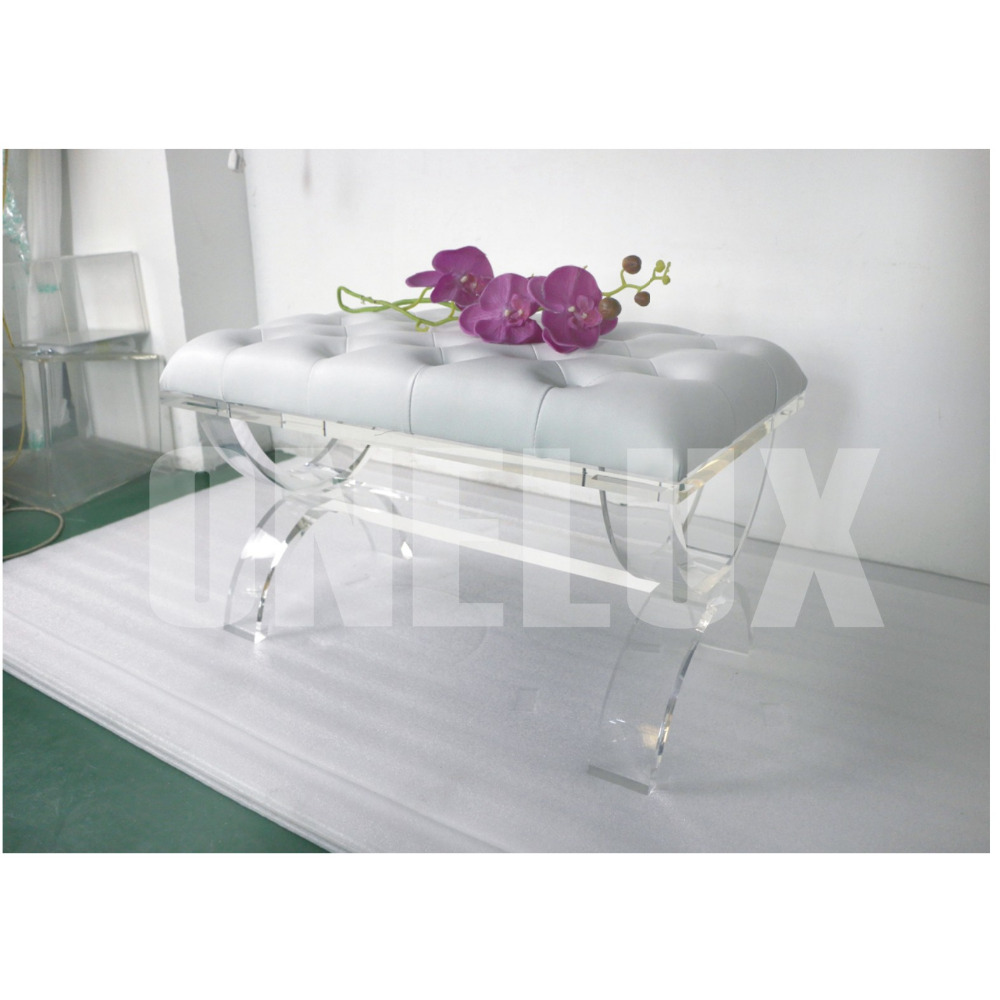 ONE LUX Acrylic cross legs ottomans,Traditional perspex lucite vanity stool bench X-based onelux x based acrylic plexiglass acrylic dining table lucite perpex square cocktail tables