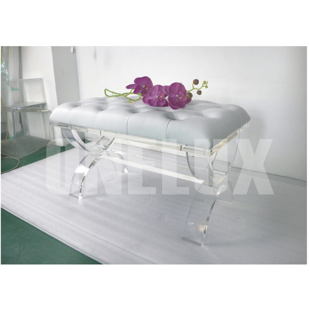 one lux acrylic cross legs plexiglass lucite vanity stool bench xbased - Acrylic Bench