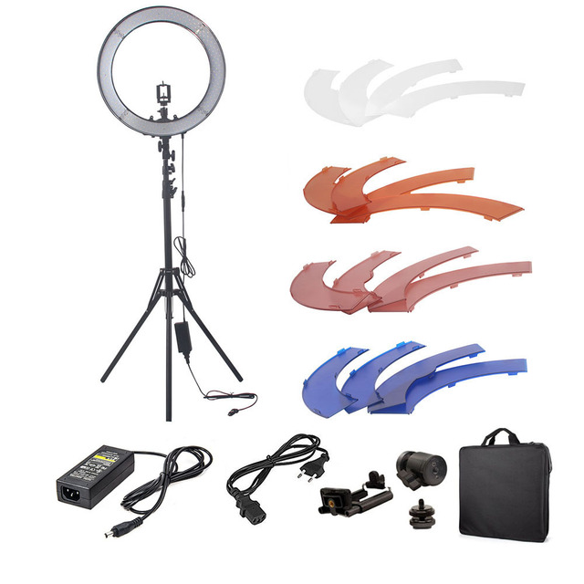 "18"" Camera Photo Video 5500K Dimmable Photography 240 LED Ring Light Kit with 2M Tripod Stand 4 Color Filter for DSLR Smartphone"
