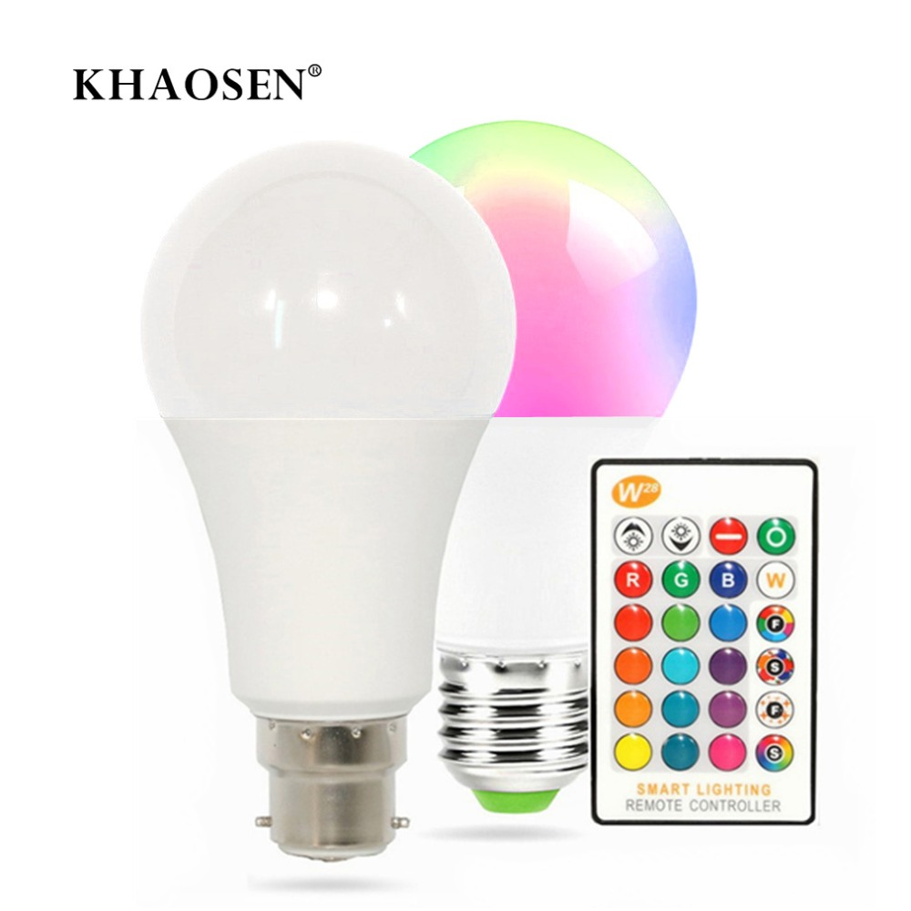 Dimmable Ampoule LED Smart Lights LED Lamp E27/B22 RGB/RGBW LED Bulb 5W 10W 15W For Home Holiday Decoration + Remote Control