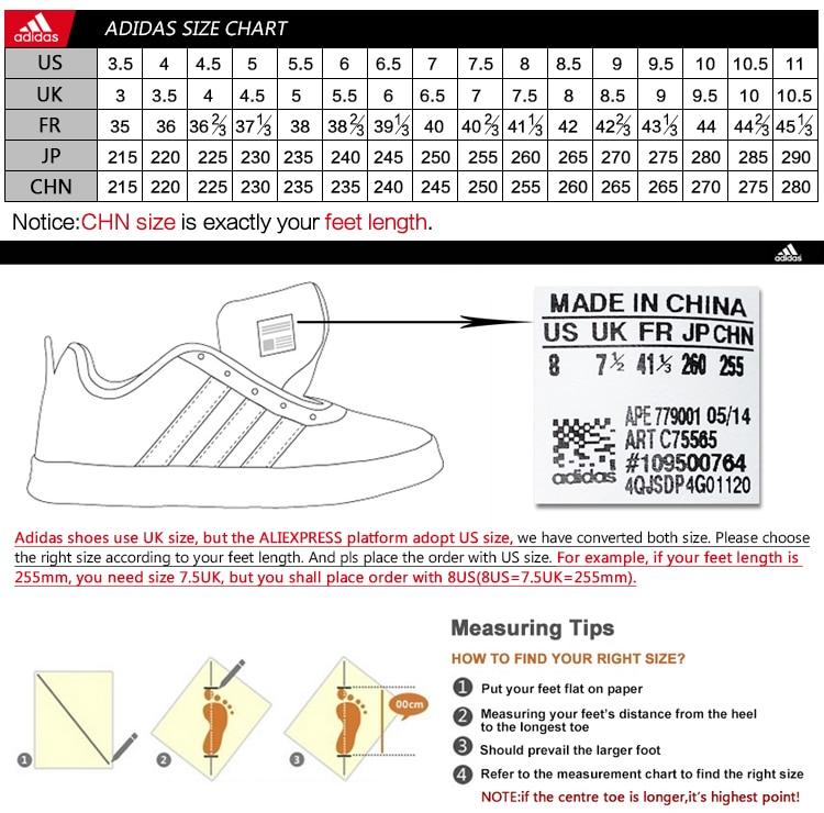 shoe size chart adidas - Denmarimpulsar