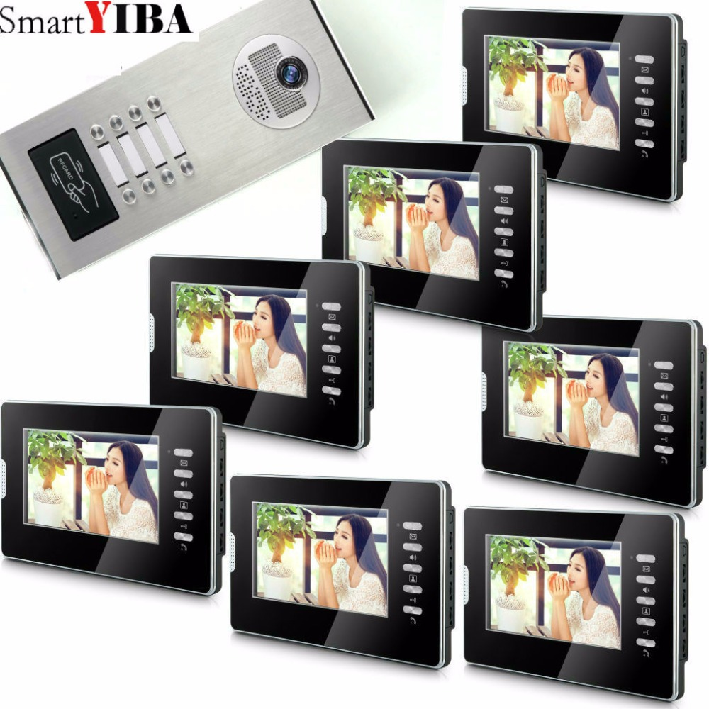 SmartYIBA 7 Video Intercom Doorbell Apartment Door Phone + 8 Monitors IR Camera for 8 Family + RFID Access System