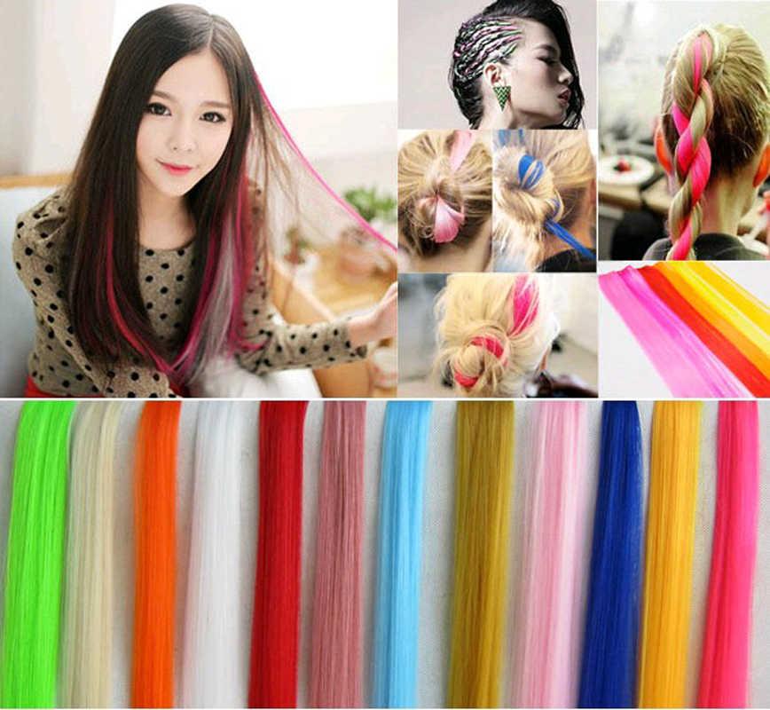 55 cm Yumuşak Düz Klipsli Uzun Peruk Parçası Çıplak Isıya Dayanıklı Postiş Uzantıları Vurgulamak Sentetik Saç moda Kadın