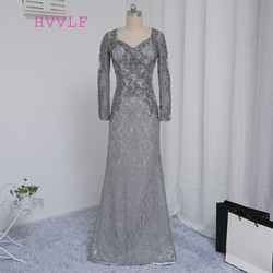 Plus size gray 2017 mother of the bride dresses mermaid v neck long sleeves lace wedding.jpg 250x250