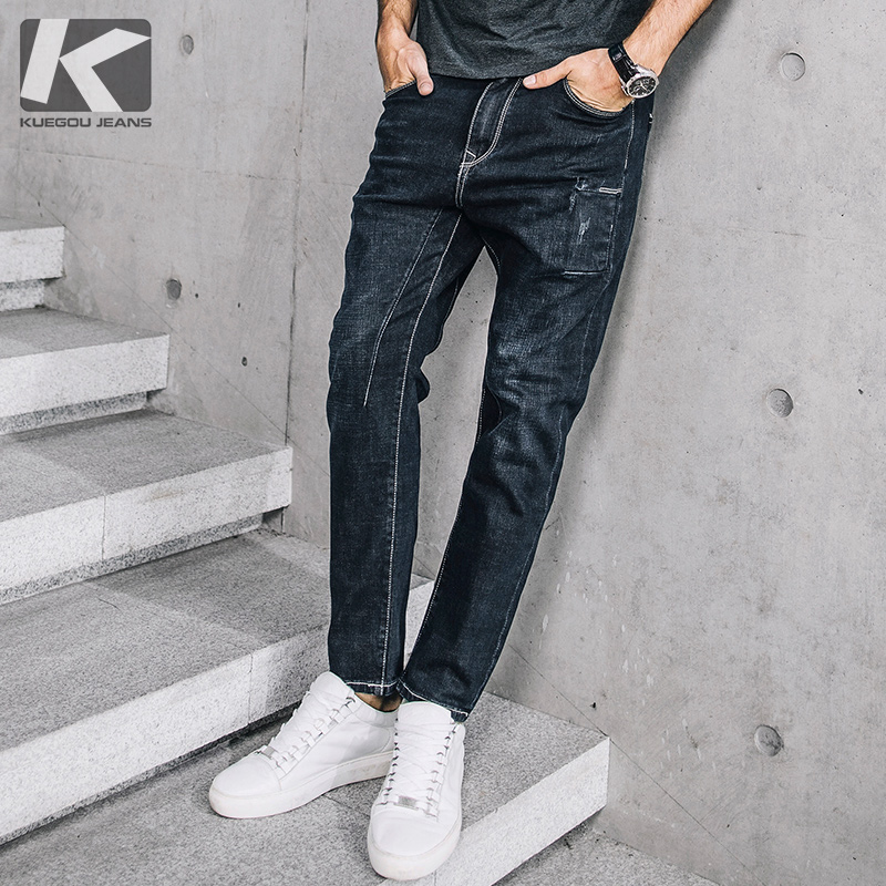 KUEGOU 2017 New Arrival Brand Fashion Casual Slim Fit Jeans Long Trousers Classic Blue Black Long High Quality Pants   72306