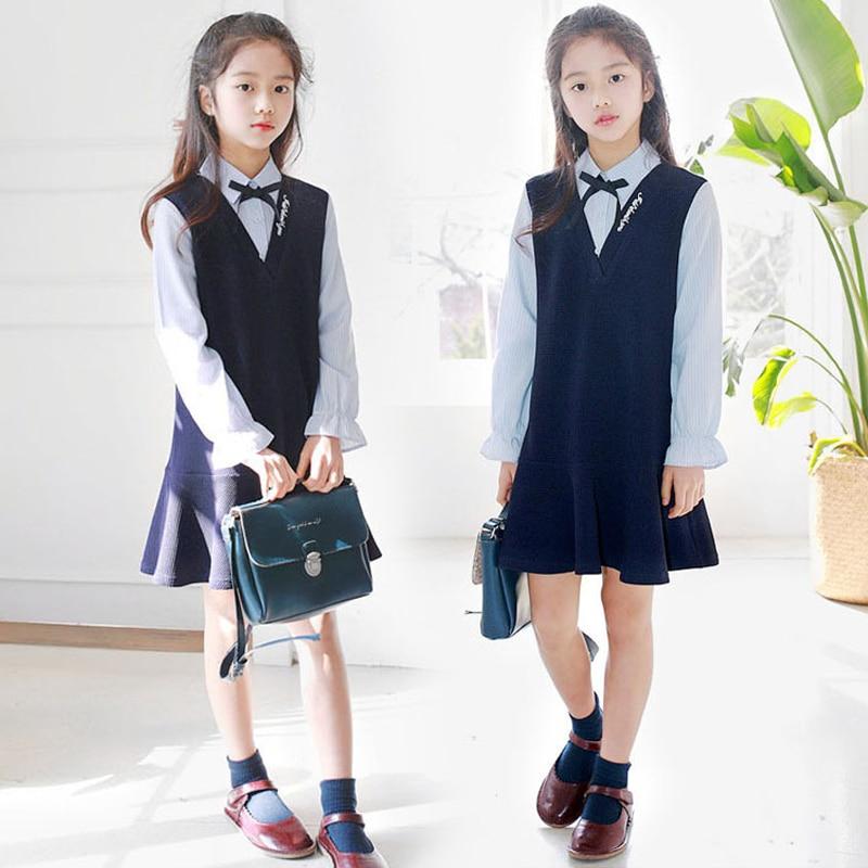 2019 filles robe été école Costume étudiant enfants robes Style Preppy enfants adolescent vêtements pour filles adolescente 8 9 10 12 13 14