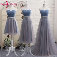 Beauty Emily High Quality Tulle Long Short Bridesmaid Dresses 2017 Female A Line Party Prom Dresses