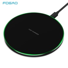 FDGAO 10W Qi Wireless Charger For iPhone X XS Max XR 8 Plus Quick Fast Wireless Charging Pad for Samsung S8 S9 S10 Xiaomi mi 9 mi wireless charging pad