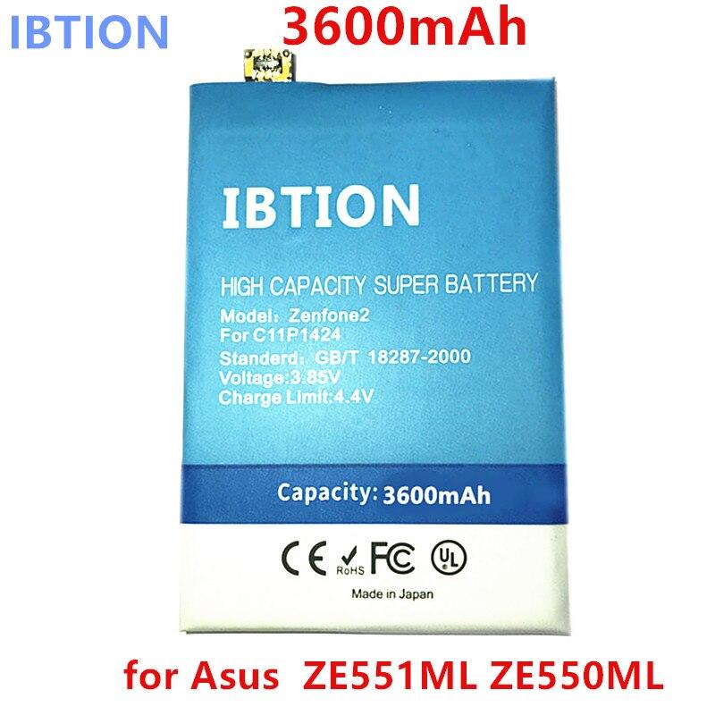 IBTION 3600mAh C11P1424 for Asus Zenfone 2 Battery ZE551ML ZE550ML 5.5inch Mobile Phone Battery