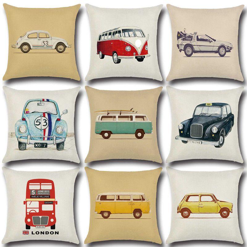 45x45cm Linen Pillow Decorative Linen Cushion Cover Cartoon  Vintage Car Pillow Case Square Vintage Almofadas