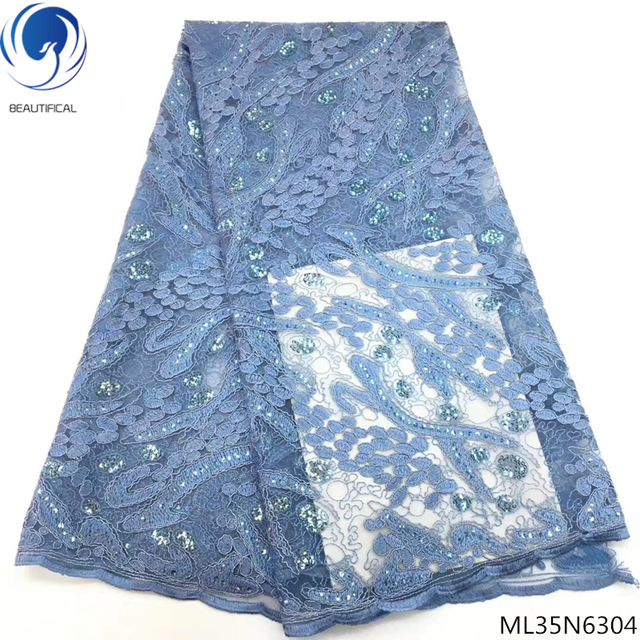 BEAUTIFICAL blue velvet lace fabric 2019 nigerian french lace latest lace fabric bridal with sequins 5yards/lot for lady ML35N63
