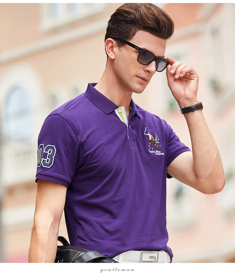 Fashion Summer Short Sleeve Solid Polo Shirt Men Cotton Print Slim Casual Polos Breathable Embroidery  Shirt Mens ClothingYP9099 8