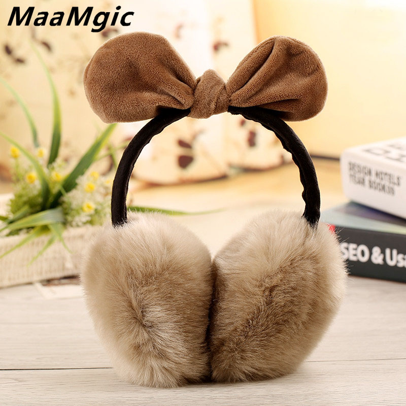 New Lovely Rabbit Fur Winter Earmuffs Ear  Warmers Winter Comfort Earmuffs Warm Winter Earmuffs For Women Girls  Fur Headphones