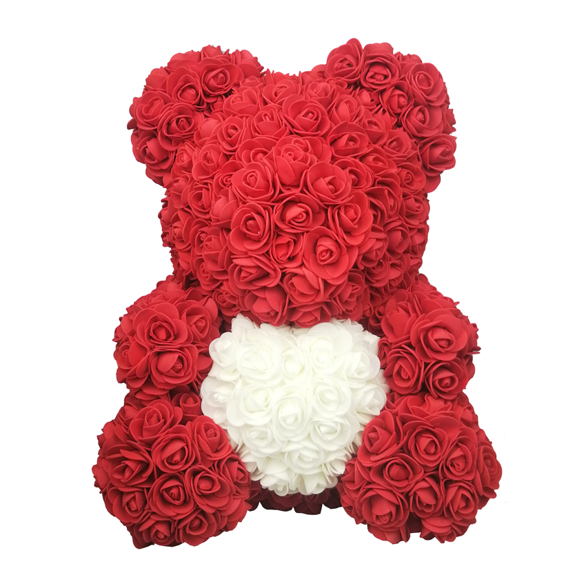38CM New Foam Roses Bear Valentines Day Gifts Party Gift Flowers Home Decoration