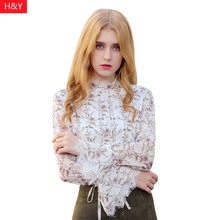 Фотография 2017 NEW Women Fashion Chiffon Blouse  Printed Tops Sweet bowknot Trumpet sleeve Base Shirt  Blouse Fit Ladies  Elegant Blusa