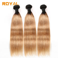 Ombre 2/3 Pcs Прямые перуанские человеческие волосы Bundles Honey Blonde Two Tone 1b / 27 Non Remy Royal Hair Extension