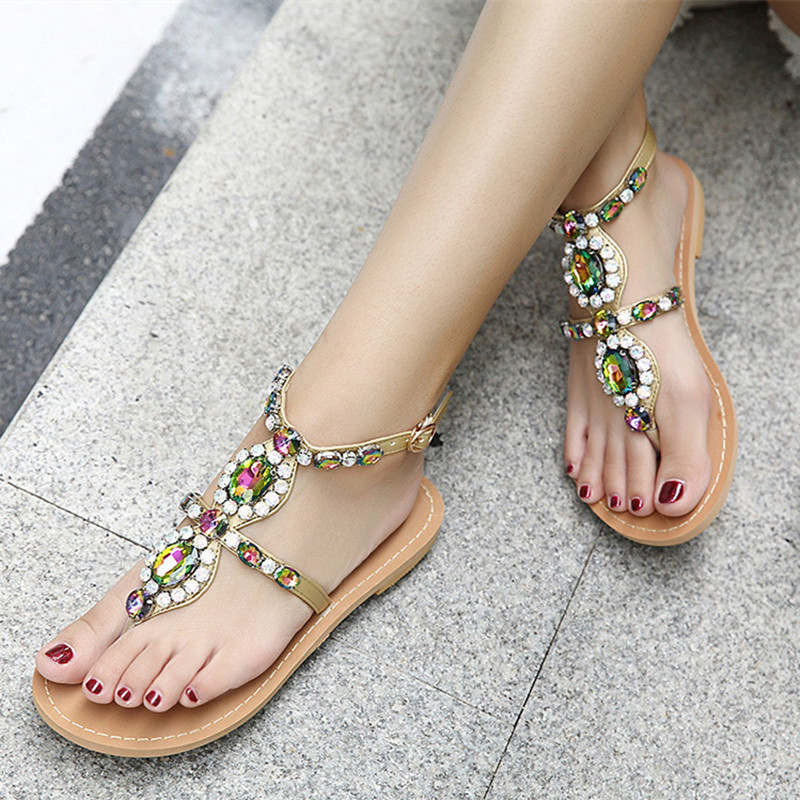 Hot selling womens female summer style ethinic sweet colorful crystal rhinestone buckle ankle strap flats heels sandals hot selling womens ss watch with tongston middle bead sapphire crystal ss buckle freeshipping ls3506s