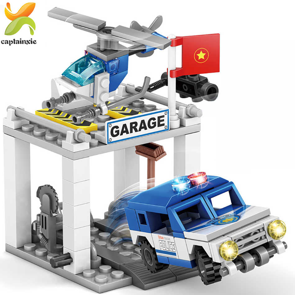 365pcs 4in1 משטרת תחנת אופנוע מסוק רכב אבן בניין עיר שוטרים לבנים חינוכי צעצועים לילדים