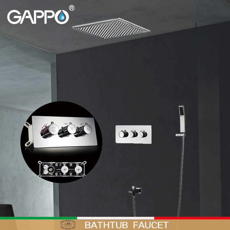 GAPPO Shower faucet bath shower heads waterfall wall mounted shower set concealed Thermostatic shower mixer bath