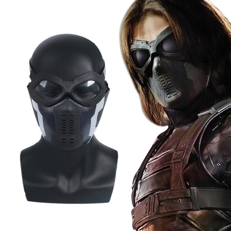 Accessori Cosplay Costume di Halloween Deluxe Edition per Adulti Uomini Fancy Dress,Bucky//A-OneSize QWEASZER Marvel Avengers Capitan America 2 Winter Soldier Bucky Maschera in PVC