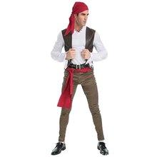 6-piece Set Hombre Ropa Cosplay Disfraces de Halloween Para Hombres Adultos Divertido Juego de Rol Trajes de Pirata Sexy Traje de Carnaval