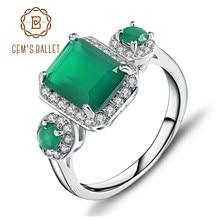 7dbd4b85784d Joya de Ballet 2.28Ct Esmeralda verde Natural de piedras preciosas de ágata  anillos Vintage plata esterlina 925 sólida bien de l.