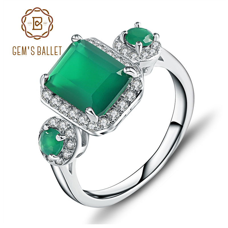 Gem's Ballet 2.28Ct Emerald Cut Natural Green Agate Gemstone Vintage Rings Solid 925 Sterling Silver Fine Jewelry For Women