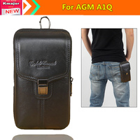Universal Genuine Leather Double Deck Wallet Pouch Waist Bag For AGM A1Q 5 5inch Waterproof SmartPhone