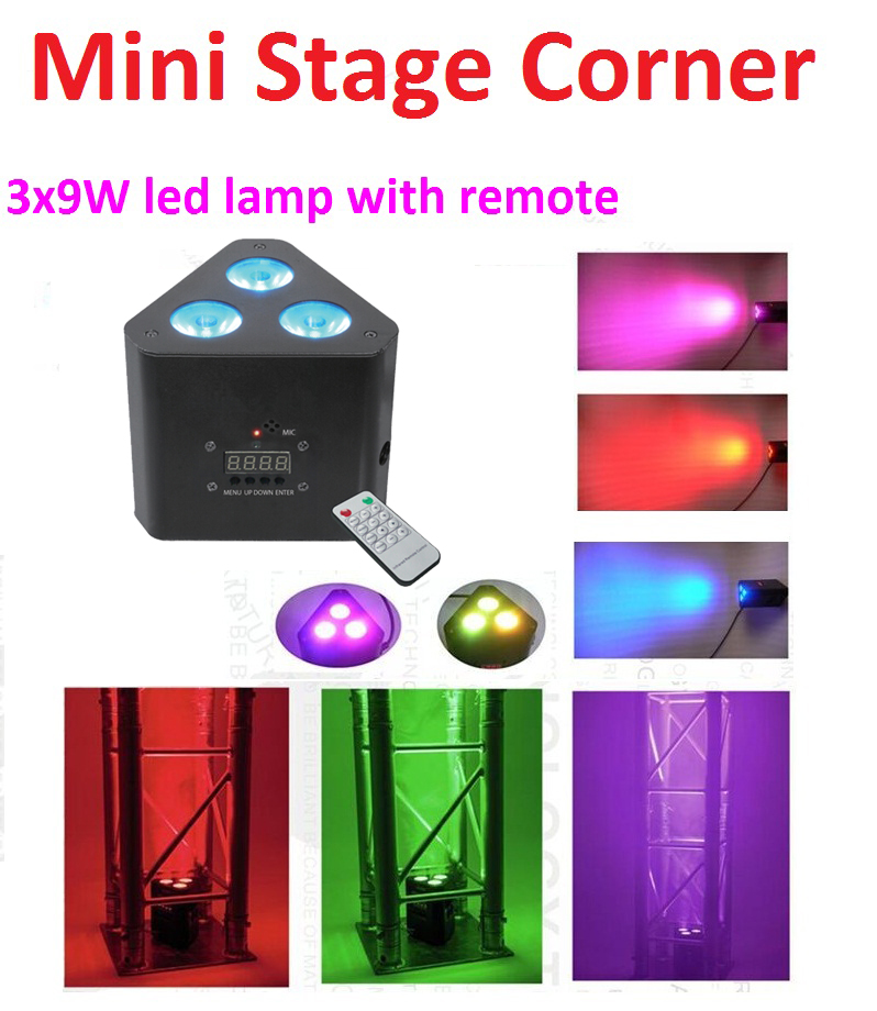 2018 New Mini Led Par Lights 3x9W 3in1 RGB Led Corner Light Stage Effect Lighting with Remote DMX Control DJ Disco Party Shows free shipping 8pcs lot mini 6 3w rgb 3in1 waterproof remote control led par light christmas lights outdoor projector