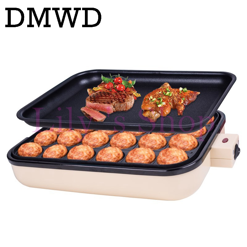 DMWD Household Small Takoyaki Maker BBQ Grill mini steak Frying pan baking plates electric Octopus Balls Machine 24 holes EU US jiqi electric baking pan double side heating household cake machine flapjack pizza barbecue frying grilling plate large1200w