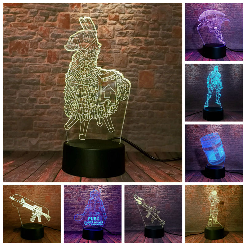 Battle Royale Figuras Juguetes 3D Nightlight LED 7 Colors Changing Desk Light PUBG Game Model Light-up Toys