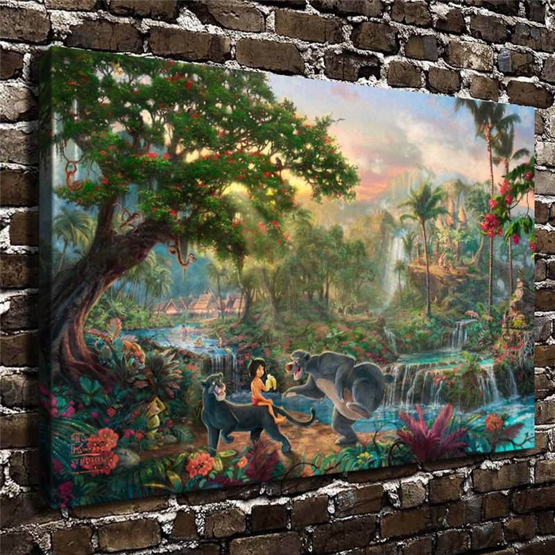 Kinkade The Jungle Book,Hd Canvas Print Home Decoration Living Room Bedroom Wall Pictures Art Painting drop shipping Canvas