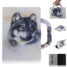 Tablet Case For Huawei Mediapad M3 Lite 10 Handle Flip Cover Stand Leather Wallet Coloured drawing Tiger Lion wolf Coque