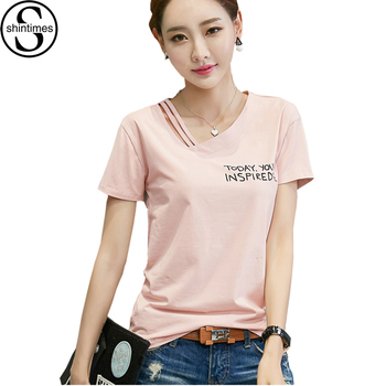 цена на T Shirt Women Letter Print Plus Size Summer Tops 2018 Tshirt Cotton Asymmetrical V-Neck Womens T-Shirt Casual Tee Shirt Femme