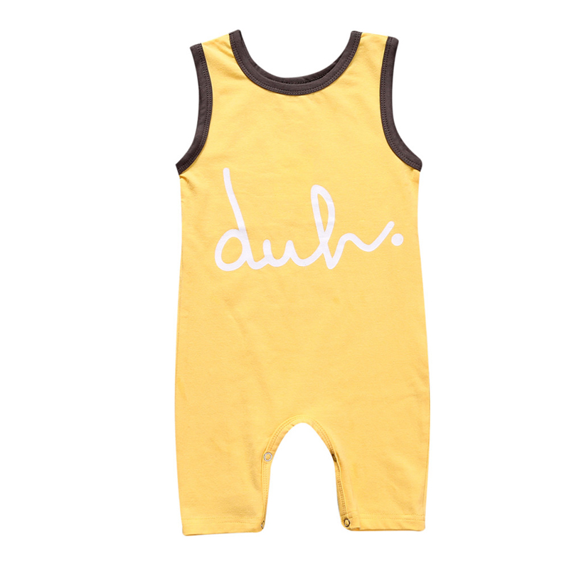 Fashion Summer Newborn Baby Romper Kids Baby Boys Girls Clothing 100% Cotton Sleveeless Letter Clothes Infant Jumpsuits 4 Style