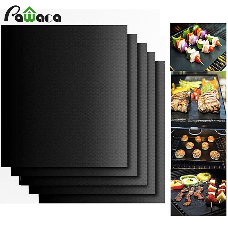 5PC/SET PTFE Reusable Non-stick BBQ Grill Mat for Charcol grill oven gas grill supplies Easy Clean Cooking Baebecue Tool 40*33cm