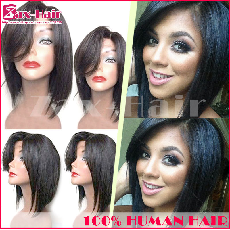 Straight Full Lace Human Hair Wigs Short Virgin Unprocessed Lace