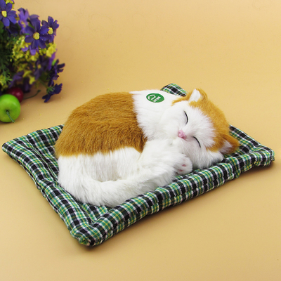 simulation cat model toy about 19x14cm lovely sleep cat miaow sound, mat cat craft car d ...