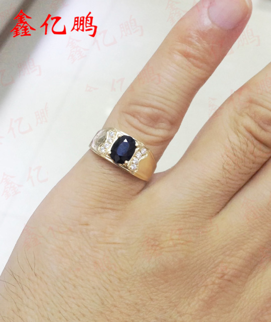 18 k gold inlaid natural sapphire ring ring 6 by 8 male contracted sedate Dark blue 5