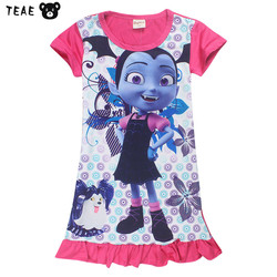 TEAEGG Infant girls Vampirina Short Sleeve Cartoon Sleeper Pajamas funny luck child new year gift spring/summer nightdress 2-9Y