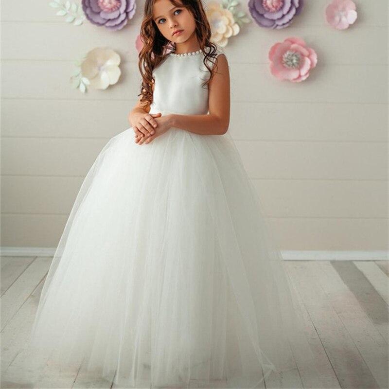 Blume Mädchen Kleider Erstkommunion Kleid Weiß Sleeveless Für Hochzeiten Perle Dekoration Tüll Little Girls Pageant Kleid