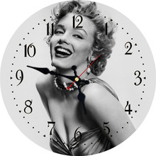 WONZOM Gray Marilyn Monroe Design Wall Clock For Home Decor, Art Large Watch, No Ticking Sound, Creative Decoration