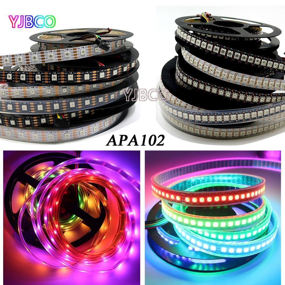 APA102 1m/5m Full Color 30/36/60/96/144 leds/m Pixel 5050 IP30/IP67 LED RGB Strip SK9822 backlight tv lights CLK DAT 5V 10 pcs rgb led strip 5050 leds 1m 60 leds flexible led lights home decoration